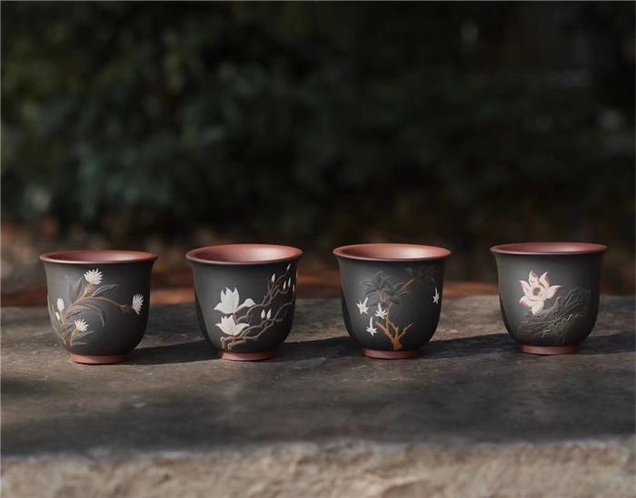 佛教四大吉花杯